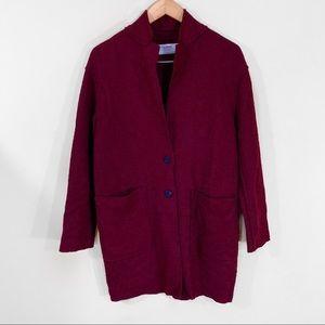 Zara | Wine Red Textured Wool Pea Coat Blazer